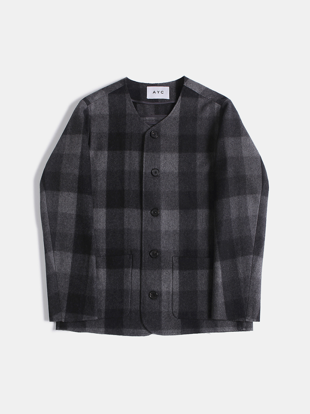 Cut-off Crew Neck Jacket (Black)