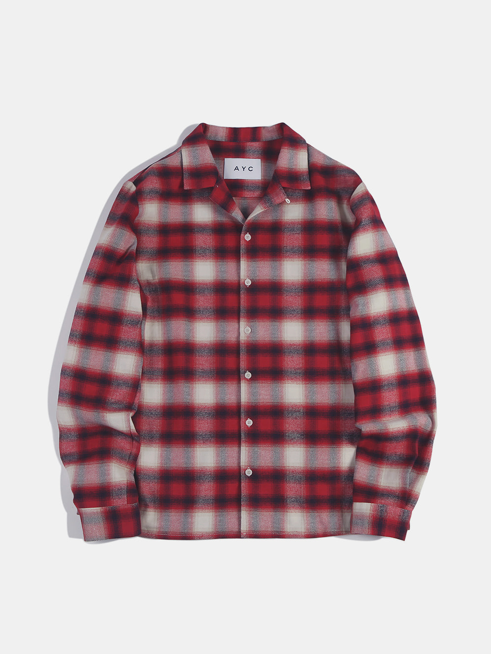 [-40%] Open Collar Check Shirts (Red)