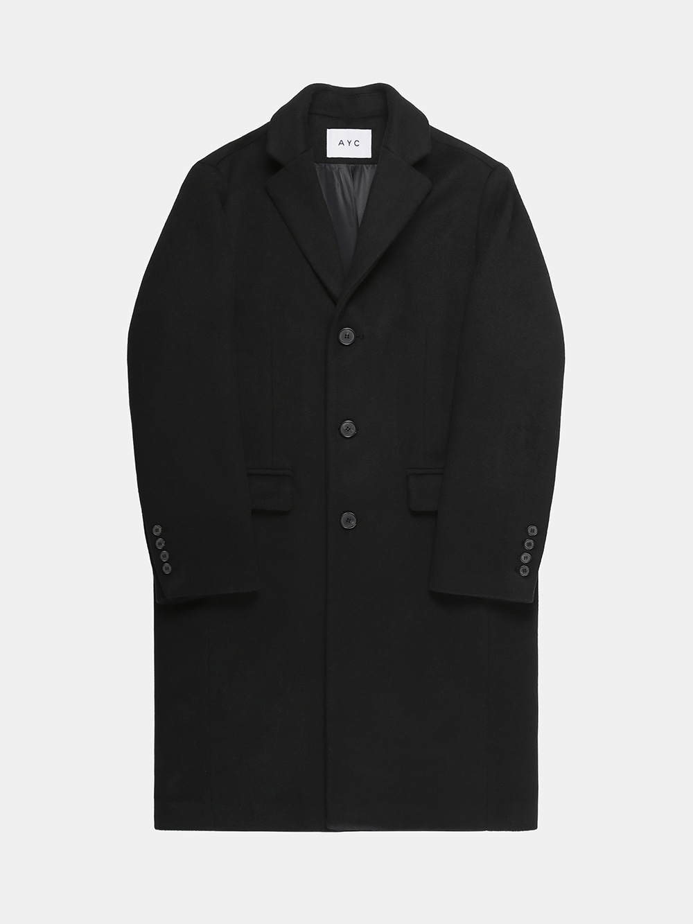 Cashmere Chesterfield Coat (Black)