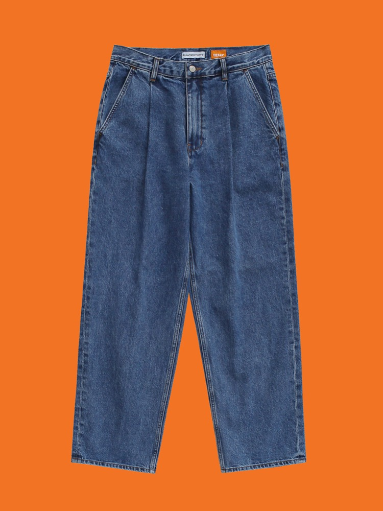 1 Tuck Wide Jeans Blue